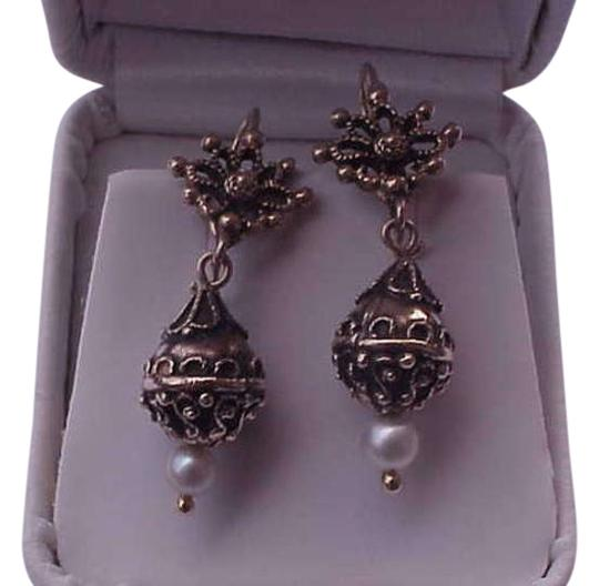 Other Victorian 14kt Yellow Gold Pearl Enamel Dangling Ornate Earrings