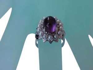 Vintage Deco 14k White Gold Genuine Cabochon Amethyst and Seeds Pearl,1920s