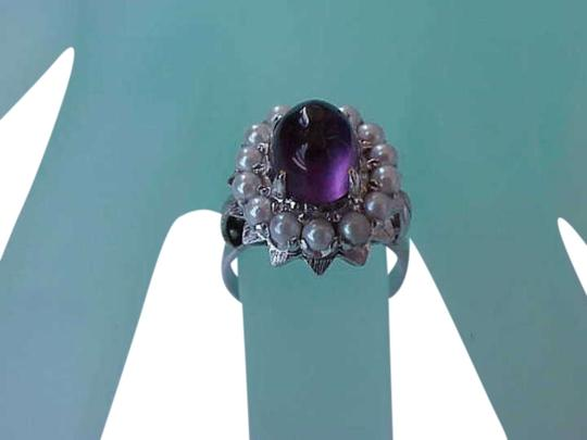 Preload https://item5.tradesy.com/images/vintage-deco-14k-white-gold-genuine-cabochon-amethyst-and-seeds-pearl-1920s-ring-344384-0-0.jpg?width=440&height=440