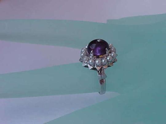 Other Vintage Deco 14k White Gold Genuine Cabochon Amethyst and Seeds Pearl,1920s