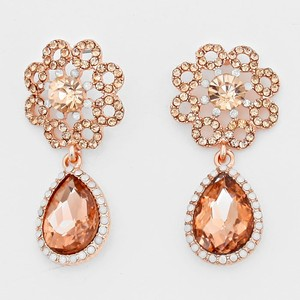 Rose Gold Peach Elegant Rhinestone Crystal Teardrop Accent Evening Earrings