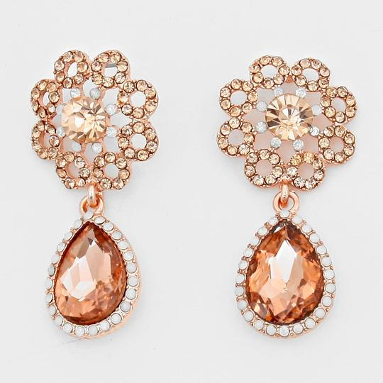 Preload https://img-static.tradesy.com/item/3443917/rose-gold-peach-elegant-rhinestone-crystal-teardrop-accent-evening-earrings-0-0-540-540.jpg