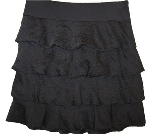 Ann Taylor Silk Ruffle Skirt Gray