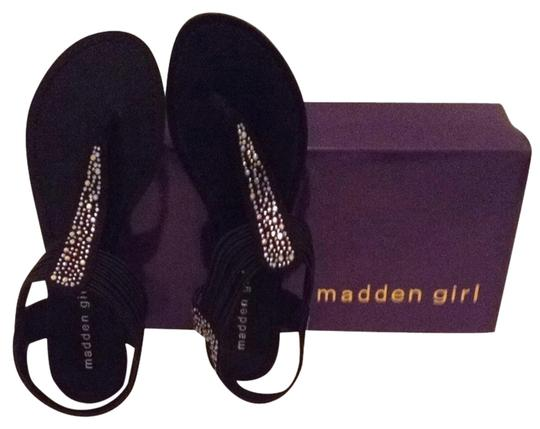 Madden Girl Black Fabric Sandals