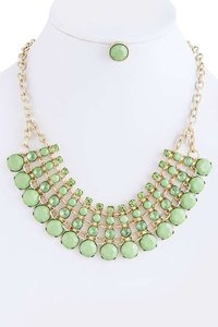Unknown Mint Tonal Crystal and Jewel Chain Necklace Set