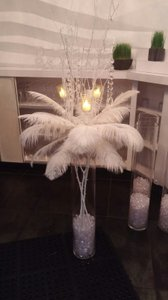 Feathers White 12 To 14 Inch Ostrich Centerpiece