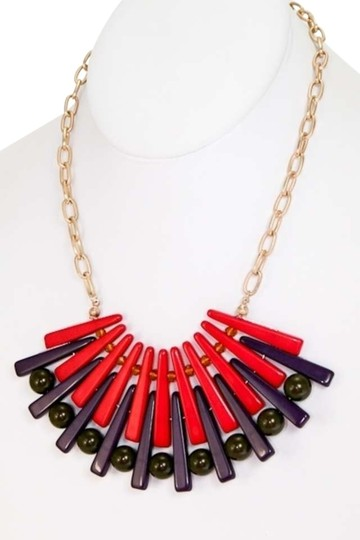 Preload https://item1.tradesy.com/images/fuchsia-stylish-graphic-fan-shaped-fuchsia-purple-brown-acrylic-necklace-344430-0-0.jpg?width=440&height=440