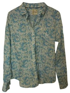 American Eagle Outfitters Button Down Button Down Shirt blue floral