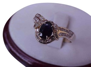 Art Deco 14k Yellow Gold Genuine 1.00ct Natural Blue Sapphire and 1.00ct Diamonds Ring