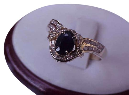 Other Art Deco 14k Yellow Gold Genuine 1.00ct Natural Blue Sapphire and 1.00ct Diamonds Ring