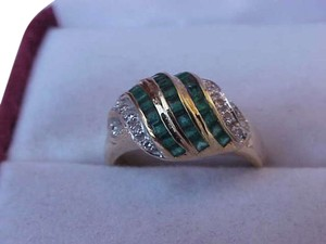 Other Estate Vintage 18k Yellow Gold Genuine Emeralds Diamonds Ring,1930s