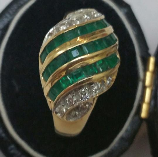 Other Estate Vintage 18k Yellow Gold 1.80ct Genuine Emeralds Diamonds Ring