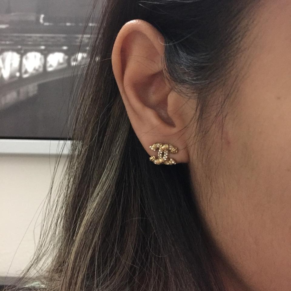 Chanel Cc Stud Gold Earrings Image 5 123456