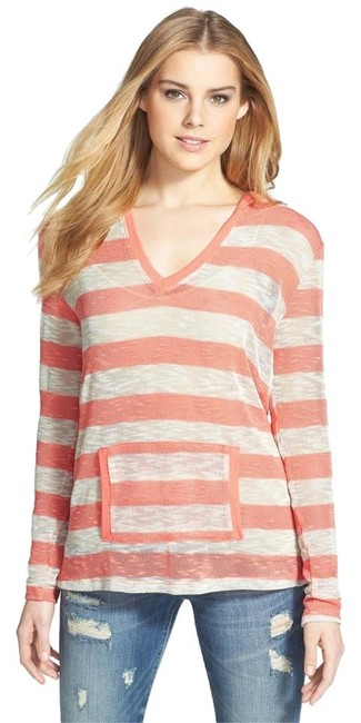 Bobeau Hooded Comfortable Striped Sweater