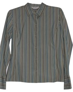 Brooks Brothers Button Down Shirt Teal Strips