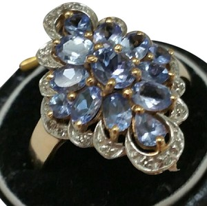 Other Estate Genuine 3.00cts Tanzanites Diamonds 10kt Gold Ring