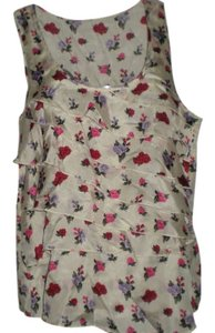Forever 21 Silk Blouse Top Floral Cream/Red/Purple