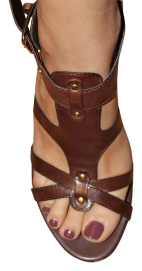 Franco Sarto Strappy Leather Mocha brown Sandals Image 0
