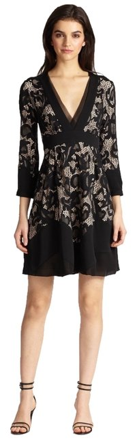Diane von Furstenberg Fern Floral Lace Nude Evening Lbd Long Sleeve Chiffon Party Nye Dvf Tory Burch Alice Olivia Rebecca Taylor Joie Josie Dress Image 0