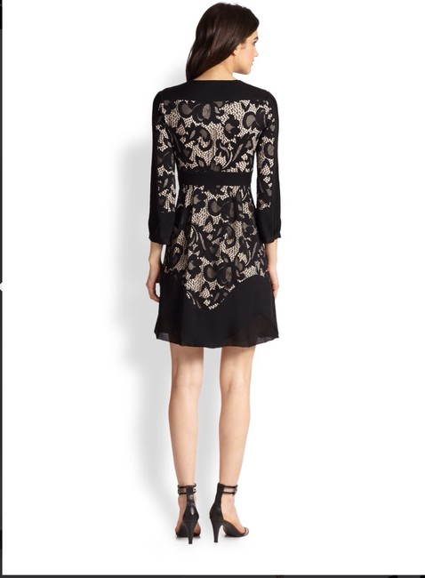 Diane von Furstenberg Fern Floral Lace Nude Evening Lbd Long Sleeve Chiffon Party Nye Dvf Tory Burch Alice Olivia Rebecca Taylor Joie Josie Dress Image 1
