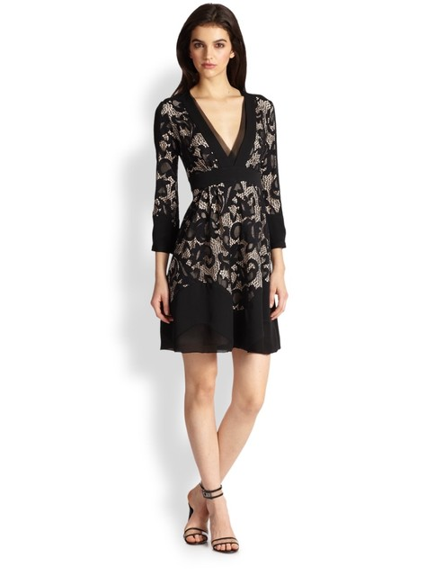 Diane von Furstenberg Fern Floral Lace Nude Evening Lbd Long Sleeve Chiffon Party Nye Dvf Tory Burch Alice Olivia Rebecca Taylor Joie Josie Dress Image 2