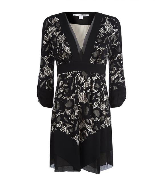 Diane von Furstenberg Fern Floral Lace Nude Evening Lbd Long Sleeve Chiffon Party Nye Dvf Tory Burch Alice Olivia Rebecca Taylor Joie Josie Dress Image 3