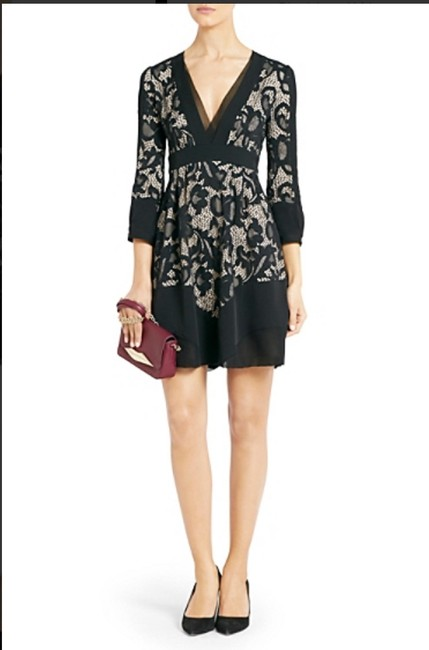 Diane von Furstenberg Fern Floral Lace Nude Evening Lbd Long Sleeve Chiffon Party Nye Dvf Tory Burch Alice Olivia Rebecca Taylor Joie Josie Dress Image 6