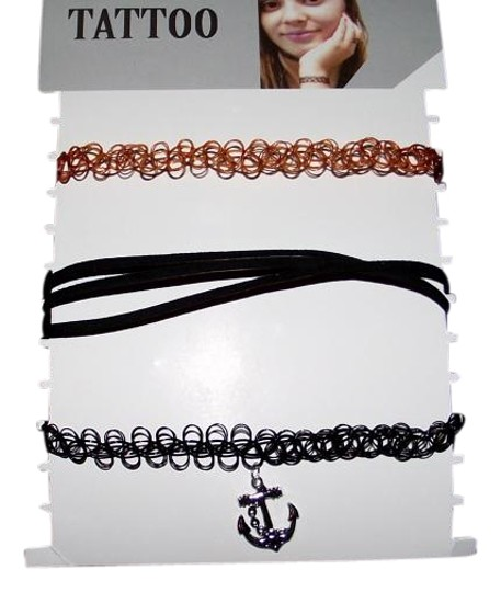 Other New 3 Chokers Sailor Anchor Black Brown 90s