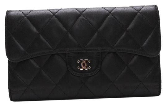 Chanel CHANEL Quilted CC Logos Bifold Long Wallet Black Leather