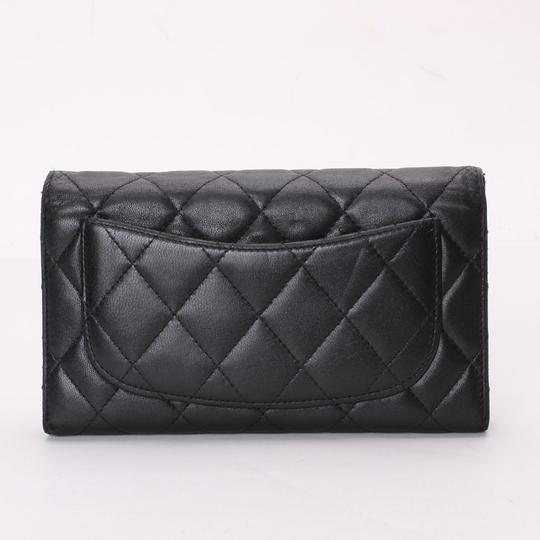Chanel CHANEL Quilted CC Logos Bifold Long Wallet Black Leather Image 5