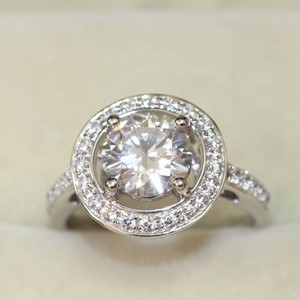 Silver Band Round Pave Sz 6 S925 Diamond Hallo Halo Heart Ring Wedding Cz Zircon