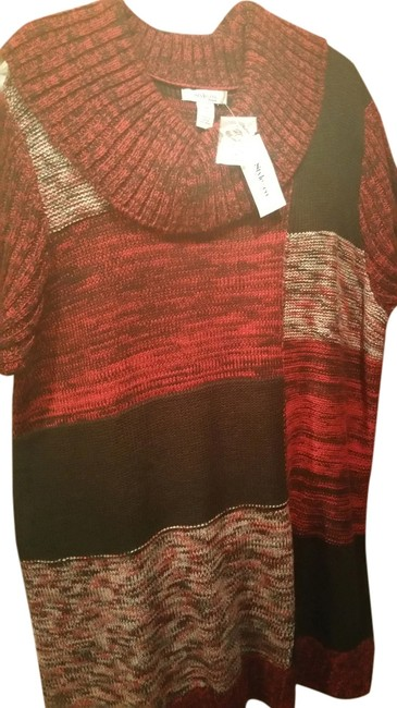Preload https://img-static.tradesy.com/item/3446311/style-and-co-plus-size-red-black-long-sweater-3446311-0-0-650-650.jpg