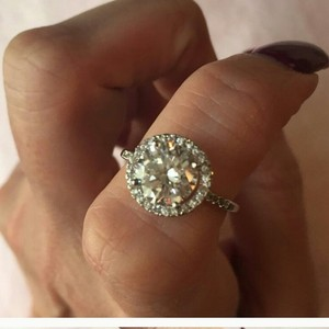 4.5 5 6 7 8 Halo Round Pave Band Wedding Bridal Engagement Proposal 2.5 Ct Diamond Cz Ring! Authentic