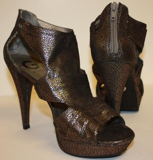 Guess G By Jamarri Heels Size 8m Gladiator Sandals Vegan Metallic Platforms