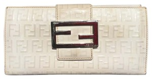 Fendi Fendi White Leather Tri Fold Wallet