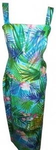 Green Hawaiian Print Maxi Dress by Maggy London