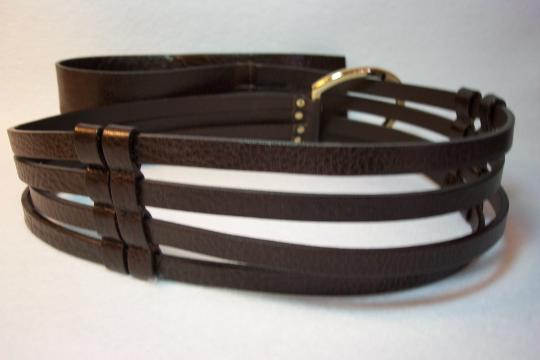 St. John St. John Brown Italian Leather 4-Strap Belt Gold Tone Hardware