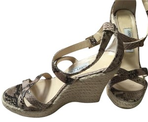 Jimmy Choo Tan/Grey snakeskin embossed Wedges