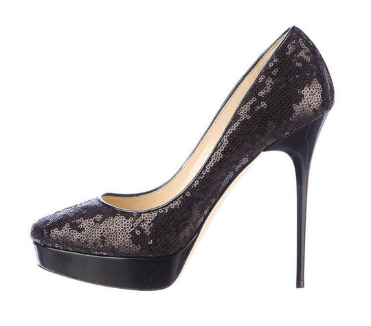 Jimmy Choo Sequin Platform Stiletto Black Pumps