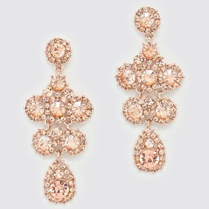 Elegant Rose Gold Peach Crystal Pave Floral Drop Dangle Chandelier Bridal Evening Earrings