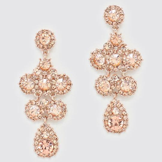 Rose Gold Peach Elegant Crystal Pave Floral Drop Dangle Chandelier Evening Earrings