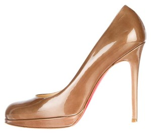 Christian Louboutin Patent Patent Leather Round Toe New Simple New Simple Stiletto Platform 120 120 Mm Brown Pumps