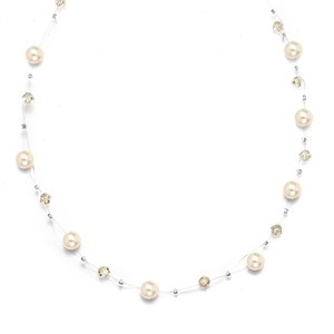 Mariell Pearl & Crystal Bridal Or Bridesmaids Illusion Necklace - Honey 234n-ho-s