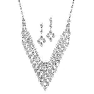 Mariell Pearl & Crystal Bridal Orrhinestone Vintage Bib Necklace & Earrings Set 3391s
