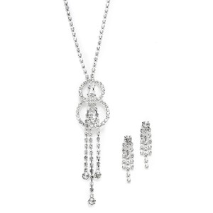 Mariell Silver Double Circles Rhinestone 3449s-s Necklace
