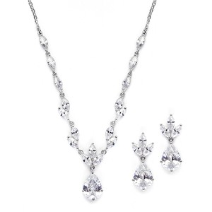 Mariell Silver Cubic Zirconia Neck Set with Pears Marquise 3565s Necklace