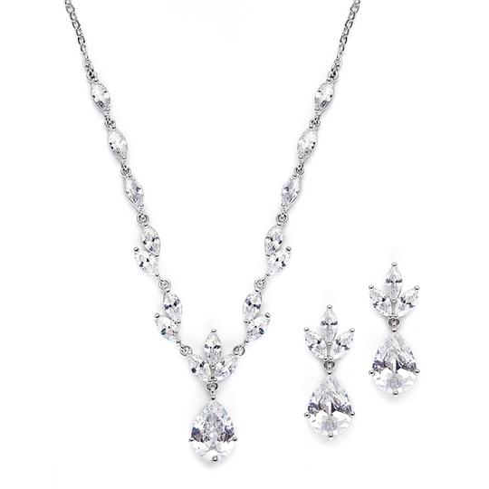 Mariell Cubic Zirconia Bridal Neck Set With Pears & Marquise 3565s