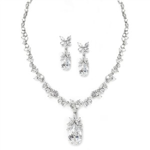 Mariell Cubic Zirconia Royal Wedding Teardrop Necklace Set 3622s