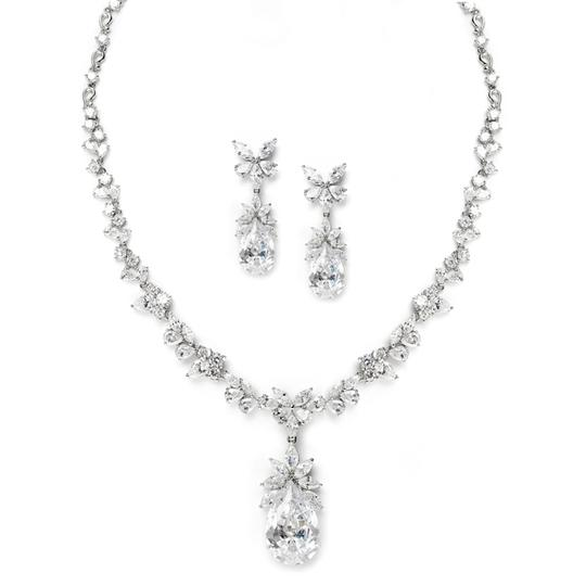 Mariell Silver Cubic Zirconia Royal Teardrop 3622s Necklace