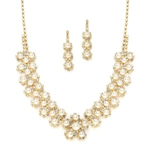 Mariell Ivory Pearl & Gold Rhinestone Necklace Set With Daisies 3805s-i-g